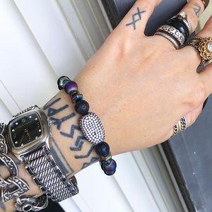 Silverskylight Jewelry - Rainbow druzy quartz beads black rodhium cz charm
